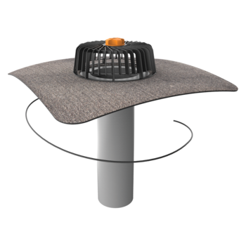 Extended single-wall heated roof outlets with integrated bitumen sleeve