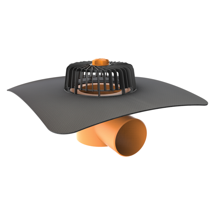 Horizontal roof outlets with integrated custom made sleeve