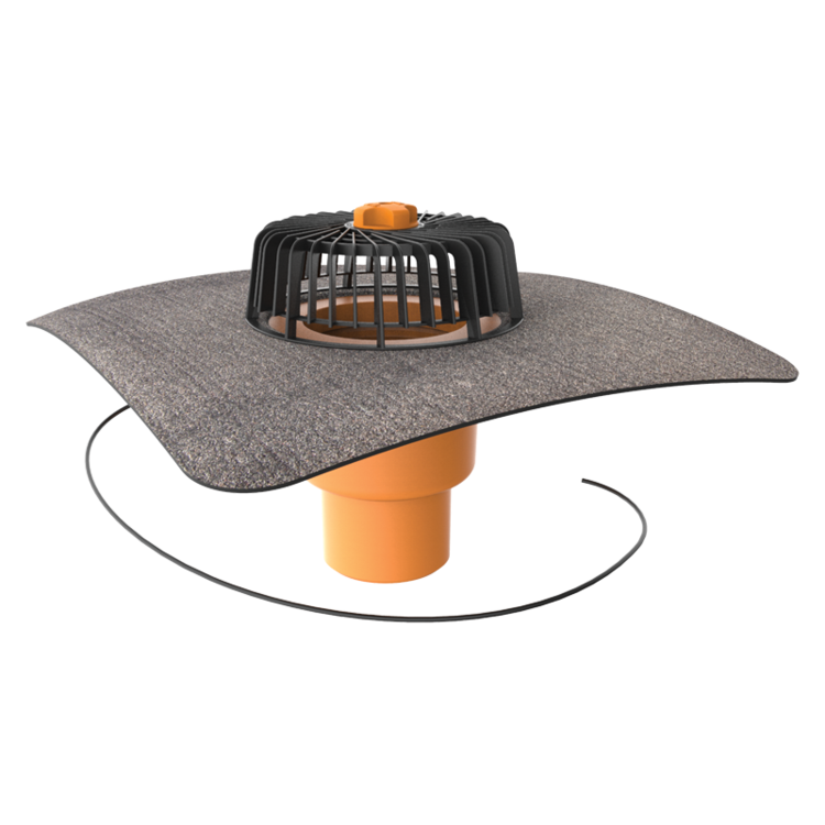 Vertical heated roof outlets with integrated bitumen sleeve