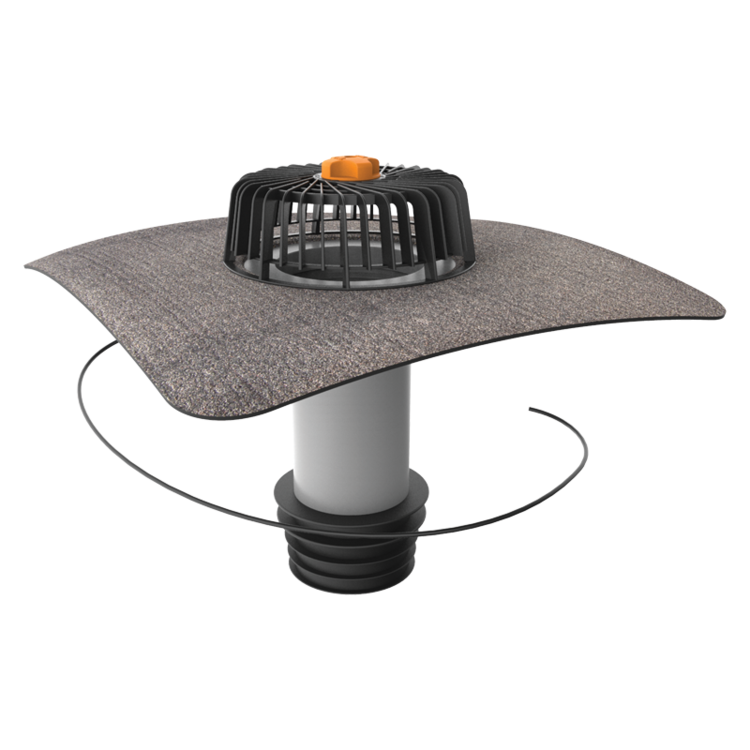 Vertical heated sanitation outlets with integrated bitumen sleeve