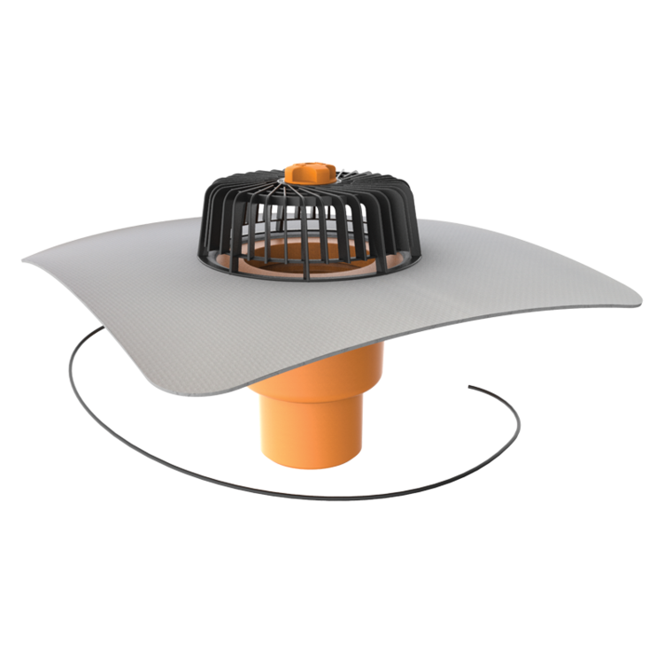 Vertical heated roof outlets with integrated PVC sleeve